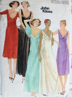 1970s JOHN KLOSS LOW CUT EVENING DRESS PATTERN DRAPED COWL NECKLINE or SURPLICE, STUNNING DESIGN BUTTERICK 5118 UNCUT