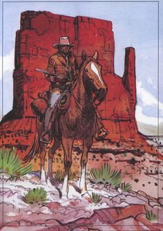 Blueberry Monument Valley (Limited Edition Print) art by Moebius (Jean Giraud) Archive Jean Giraud, Art And Illustration, Moebius Art, Bd Art, Serpieri, Art Occidental, Heavy Metal Art, Western Comics, Comic Kunst
