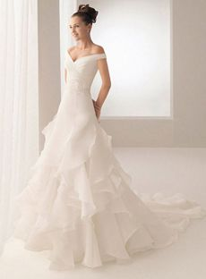 Vintage A-line V-neck Floor-length Organza White Wedding Dresses