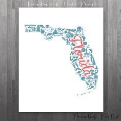Florida Landmark Custom State Print  8x10 Giclée by PaintedPost, $18.00 #paintedpoststudio - Custom State Print - Custom Landmark Print by Painted Post Studio- What a great and memorable gift for graduation, sorority, hostess, and best friend gifts! Also perfect for dorm decor! :)