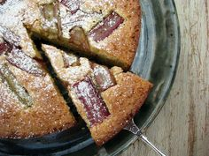 gluten-free rhubarb, lemon and almond cake, Delicious and would work as a base for a variety of fruit