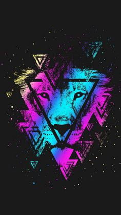 Lion Colorful Triangle - iPhone Wallpapers