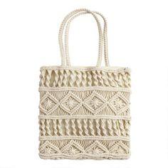 Ivory Macrame Tote Bag by World Market - Thea Macrame Colar, Macrame Bag, Macrame Jewelry, Macrame Knots, Free Macrame Patterns, Boho Bags, Macrame Projects, Ivoire, Handmade Bags