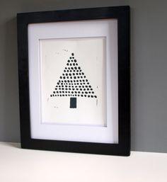 Modern Christmas Tree Holiday Art Decor Black by RetroModernArt