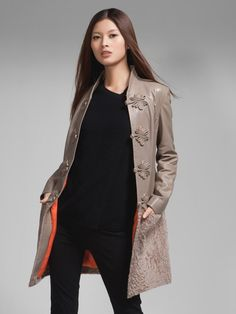 Nappa leather shearling coat - taupe