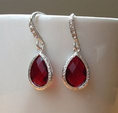 Silver framed dark red/ marone faceted crystals on by PetalJewels