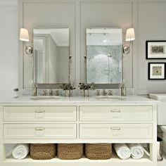 love the storage under the sinks like that and the simple look of it all.