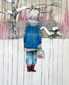 Christmas fine art print illustration  winter by LotteTeussink  Te koop via Etsy, maar in december 2014 ook bij Leidse Stijl.