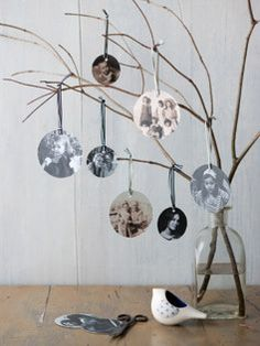 Print photos at the Memory Lab and punch with a circle punch for simple photo ornaments--or make a family tree display! (Have old photos? Have them scanned at the Memory Lab and convert to digital images you can print.)
