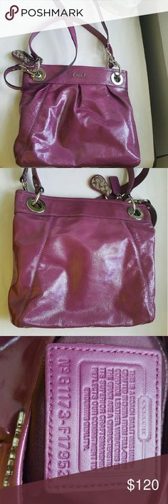 """COACH """"ASHLEY PATENT LEATHER HIPPIE"""" SATCHEL Excellent like new condition inside and out  11 inches across bottom  11.25 tall 8 inches top of handle to top of purse  21.5 top of strap to top of purse Purple plum color Coach Bags"""