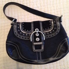 Black and Silver Coach Bag Practically New! No stains. Coach Bags Shoulder Bags