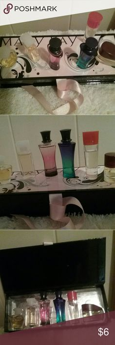 5/$20 Mary Kay travel mini eau de parfum set of 6 Mary Kay travel mini set of .17 fluid oz each EDP. Includes Journey, Elige, Belara, Bella Belara, Velocity, and Affection. All have been used. Belara and Bella Belara still smell fresh. This would be a cute collector's set for the bottles or placing the bottles on a flat mirror on a dressing table. Price reflects usage and condition. Other