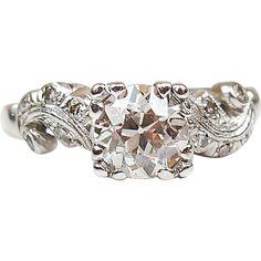 Art Deco Platinum 1.34 ctw Diamond Engagement Ring