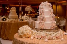 Wedding Cake with frosted flowers Photo Credit: Morgan Lynn