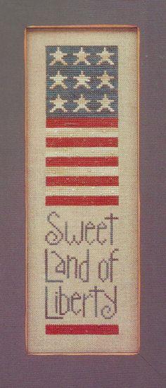 Sweet Land Of Liberty Primitive Patriotic Cross by carolinagirlz2, $8.00