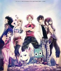 fairy tail - (left to right) Gajeel, Wendy, Lucy, Natsu, Gray, Erza, Carla, and Happy