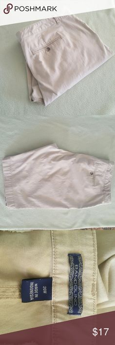 Khaki Shorts Khaki cotton spandex shorts. Waist 44 inches. Length 12 inches. Flat front. Two front pockets. Two button back buttons. Bandolino Shorts