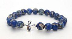 Beautiful Dark Blue Impression Jasper and Silver Cross Stretch Bangle Bracelet | AyaDesigns - Jewelry on ArtFire