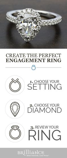 Create your perfect engagement ring! Start with a beautiful setting, add your choice of pear diamond and see it all come together!