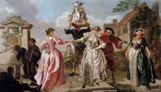 May Day festivities in the Georgian Era, via All Things Georgian (The Milkmaid's Garland, or Humours of May Day, Francis Hayman, c.1741, held in the V&A)