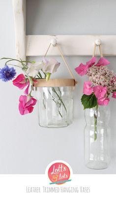DIY - leather trimmed hanging vase