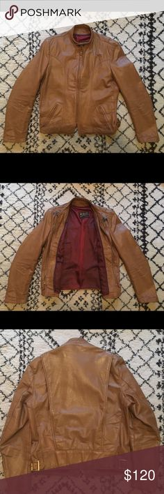 cbc474e148e32 Mens Vintage Brooks Cafe Racer Leather Jacket Vintage Brooks. Tan leather  Burg lining. Light