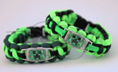 MineCraft Creeper Inspired ALLOY Charm on Cobra 550 Paracord Survival Strap Bracelet w/ Plastic Contoured Side Release Buckle. $15.00, via Etsy.