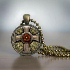 Glass Tile Necklace Cross Necklace Steampunk by bluerosebeadery