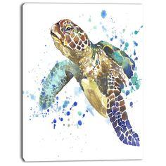 DesignArt 'Blue Sea Turtle Illustration' Painting Print on Wrapped Canvas Size: