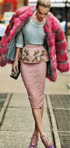 Pastel meets luxury with this faux fur, embellished, pink peplum look.