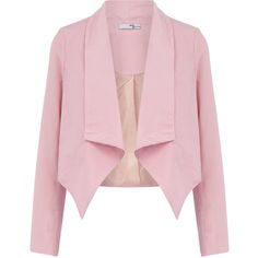 Pink waterfall blazer ❤ liked on Polyvore