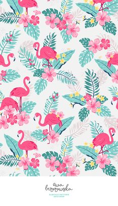 Tropical rush - textile design, pattern design, cute pattern, illustration, children illustration, children bedding, children pattern design, flamingo, tropical, jungle, tropical pattern, floral, flowers, leaves, palm, summer