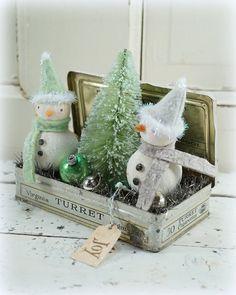 Snowman // Christmas Decor // Ornament // Vintage Style Christmas // Vintage Tin // Farmhouse Chistmas // Bottle Brush Tree //