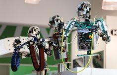 """Robots at the """"Hannover Messe"""" trade fair in Hanover, Germany, April 2014."""
