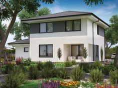Zdjęcie projektu KA35 PKT1041 Duplex House Design, Modern Architecture House, Sims House, Facade House, Modern Farmhouse, Bungalow, House Plans, New Homes, House Styles