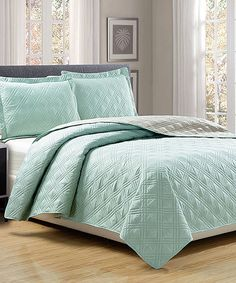 Look at this Aqua & Caramel Reversible Quilt Set on #zulily today!