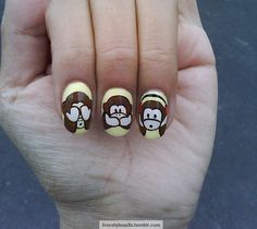 See no evil, speak no evil, hear no evil. #nail #nails #nailart