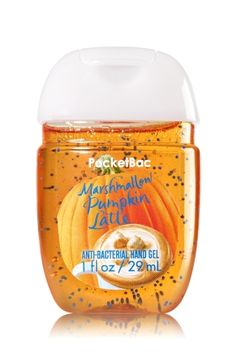 Marshmallow Pumpkin Latte - PocketBac Sanitizing Hand Gel - Bath & Body Works - Now with more happy! Our NEW PocketBac is perfectly shaped for pockets & purses, making it easy to kill 99.9% of germs when you're on-the-go! New, skin-softening formula conditions with Aloe & Vitamin E to leave your hands feeling soft and clean.