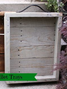 tray from old pallet and leather belt....  http://ourpinterestingfamily.blogspot.com/