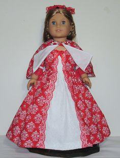 Red and white Colonial Tea dress Created by MargaretteDesigns4AG