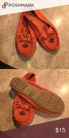 Moccasins Orange in color very comfortable just cleaning out My Closet Mossimo Supply Co Shoes Moccasins