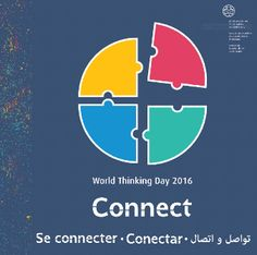 "World Thinking Day 2016 - Connect. ""This year's resource is a puzzle challenge in five parts. In order to earn the WTD 2016 badge, Girl Guides and Girl Scouts will need to choose one activity from each of the first four sections to collect the four puzzle pieces. Then, they put their puzzle together and complete their final activity, to #connect10million with the world. Each section has some very simple and quick activities, and some that take a bit longer or give a greater challenge."""