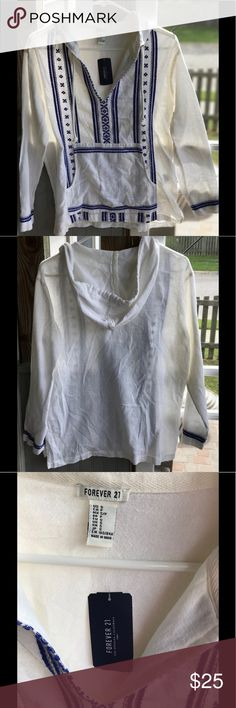 Forever 21 boho hoodie Boho woven hoodie. Embroidered. Brand new with tags. Forever 21 Tops