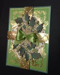Glitzy Green and Gold Foil Christmas Card with Designer Details by Anna Griffin