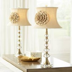 Vienna Full Spectrum Hilary Flower Shade Crystal Column Table Lamps Set of Clear Large Table Lamps, Table Lamp Sets, A Table, Bedroom Lamps, Living Room Bedroom, Traditional Table Lamps, Crystal Shapes, Fabric Roses, Crystal Rose