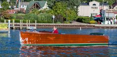 """Steve Upham's 1939 Chris Craft deluxe utility """"Ewe Boat"""" is powered by her original Model K engine. Steve is the second owner and has owned the boat for 45 years. Utility Boat, Chris Craft Boats, Wood Boats, Lake George, Boater, 45 Years, Cool Eyes, Vintage Travel, Planes"""