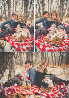 Winter Family Session in the Snow  bright quilt! fur! vintage feel