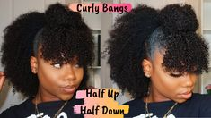 Natural Hairstyle – Half Up Half Down With Curly Bangs [Video] - - afro bangs hair hair styles mujer peinados perm style curly curly Cute Natural Hairstyles, 4c Natural Hair, Pelo Natural, Hairstyles With Bangs, Braided Hairstyles, Medium Length Natural Hairstyles, Natural Braids, Fashion Hairstyles, Dreadlock Hairstyles