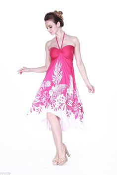 Sexy Tropical Hawaiian Halter Butterfly Party Cruise Luau Dress Pink Indri #Unbranded #Sundress #Casual