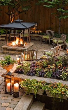 Cool evenings around a fire? All of your friends will say count us in--dress up the area with a wide array of plants in window boxes that help define the space, in addition to low laying landscape beds with lots of perennial color.